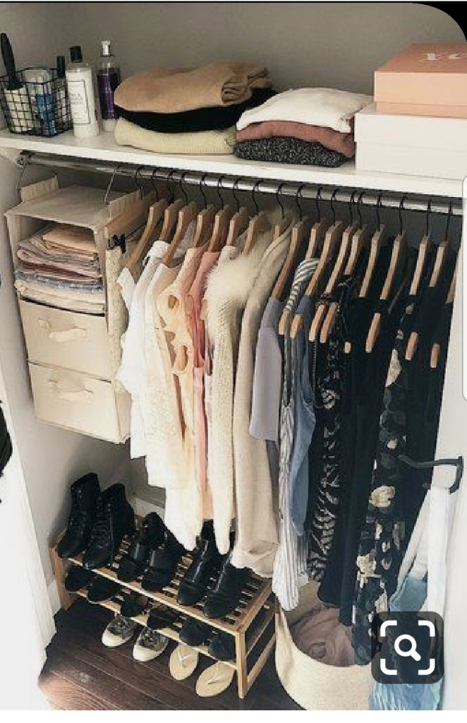Deconstructed Easy Closet Design With Hanging Shelves And Shoe Storage Rolanda L Professional Organizer